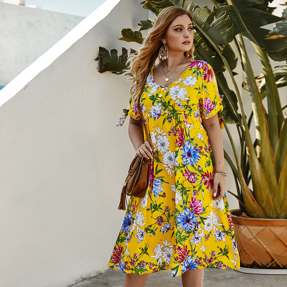 Origional Design Large Size Dress Bohemian Floral Printed Dress 2020 Spring And Summer Hot Selling Skirt