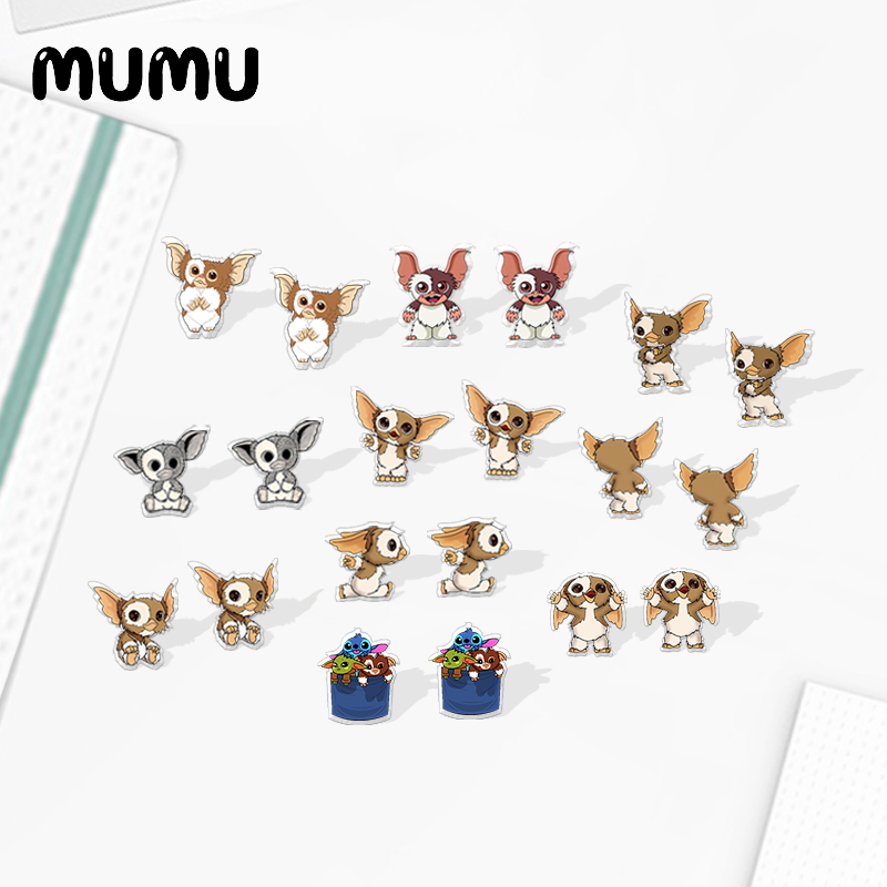 2020 New GIZMO Gremlins Stud Earring Movie Cartoon Animal Acrylic Earring Epoxy Resin Jewelry Cute Earrings