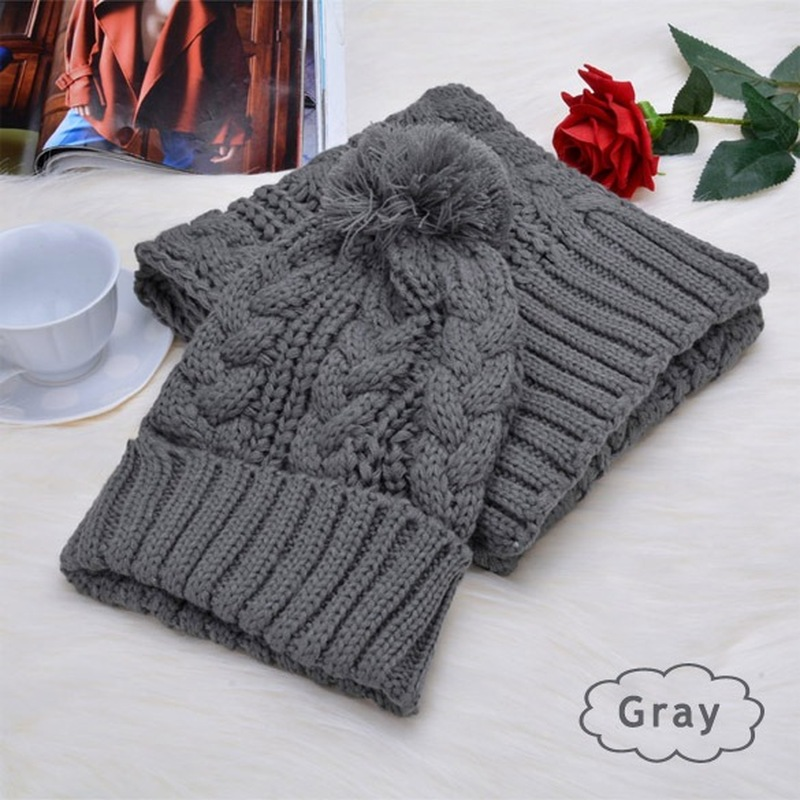 New Female Winter Scarf And Hat 2 Piece Set Plush Ball Beanie Autumn Lady Warm Knitted Cap Vintage Women Bonnet Femme