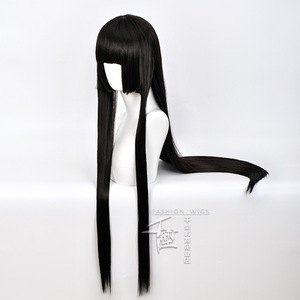 Image 2 - Anime Kakegurui Yumeko Jabami Cosplay Wig Straight Long Black Heat Resistant Synthetic Hair Cosplay Wig+Wig Cap Role Play