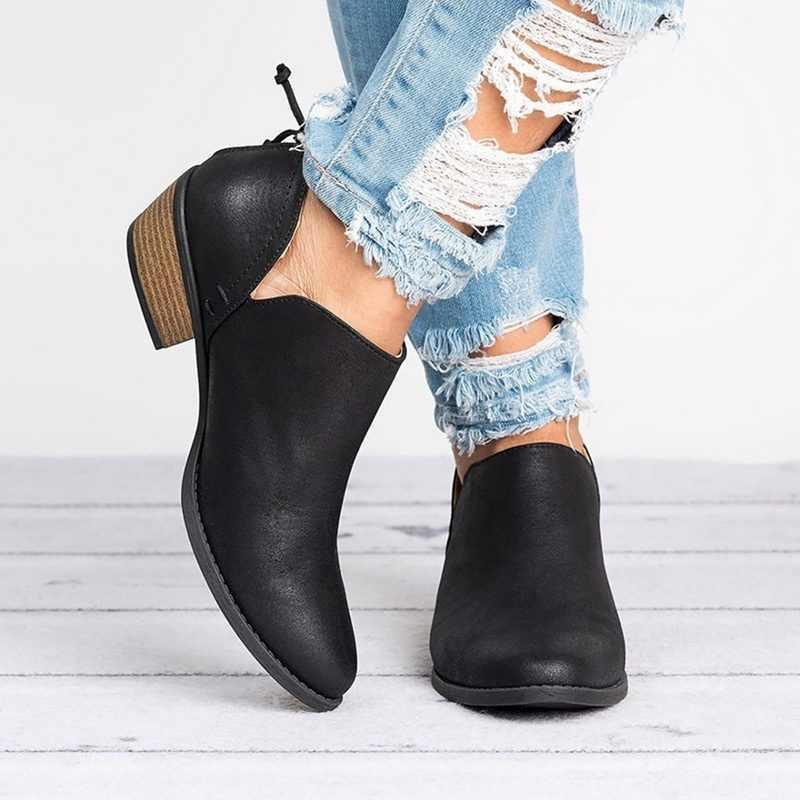 2019 primavera tornozelo feminino botas de salto quadrado deslizamento em feminino salto alto único sapatos apontou toe casual senhoras moda