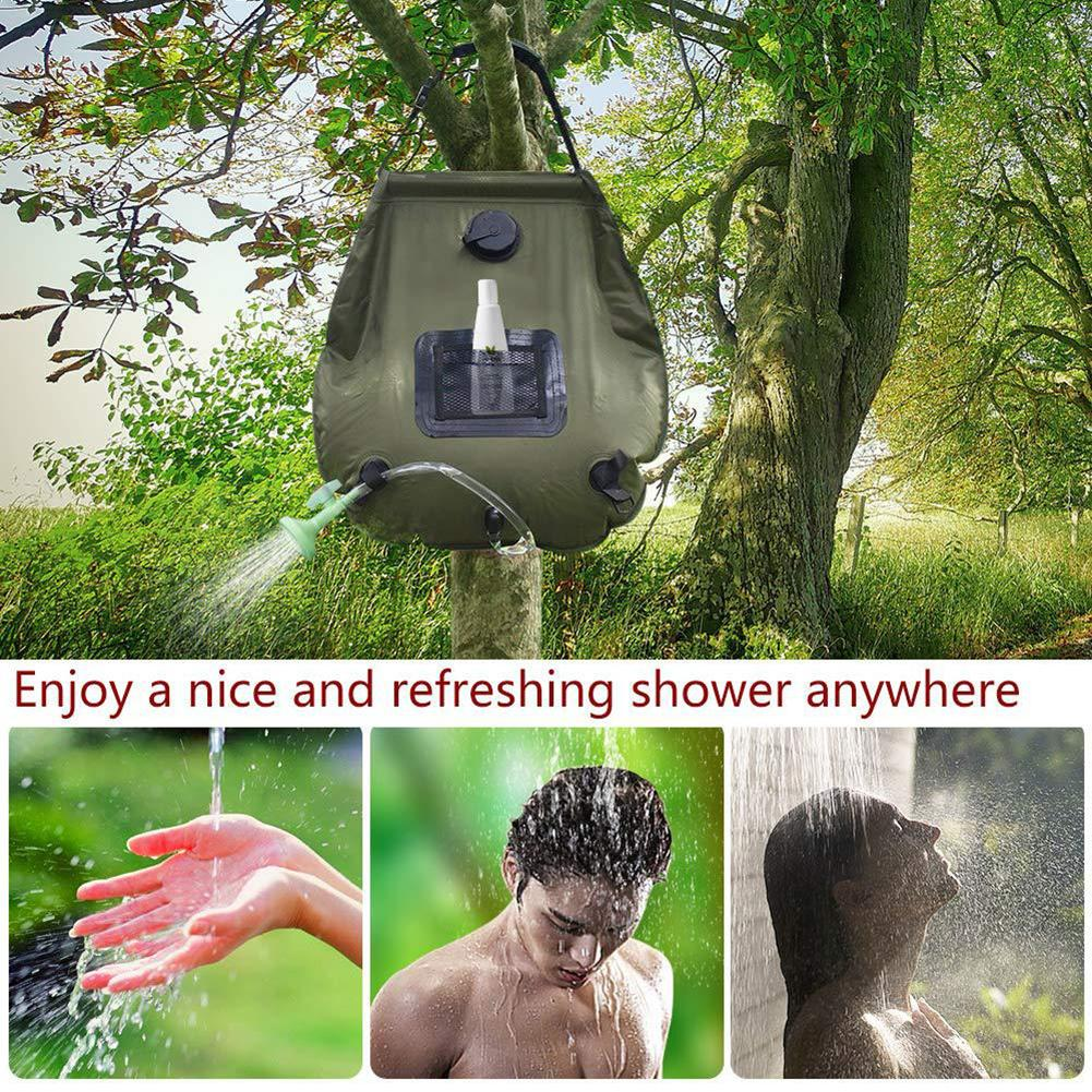 Solar Hot Shower Pack with Shower/Head Solar Camping Shower Bag 5gal Temperature Indicating,/Army/Green,20L Portable Camping Bath Water Bag for Hiking