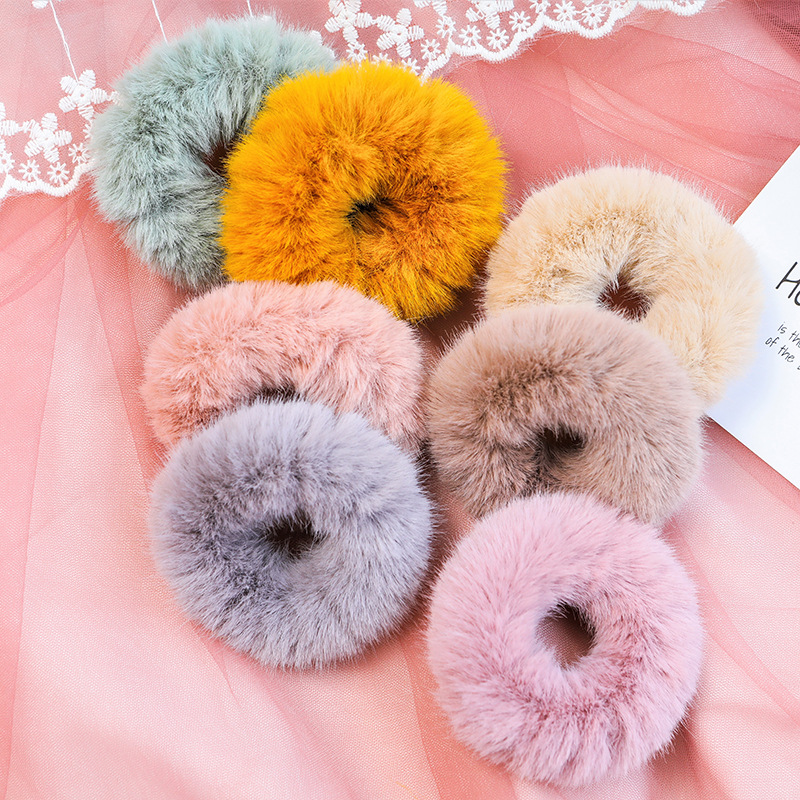 Colorful Soft Fluffy Faux Fur Headbands Ponytail Holder Cute Elastic Pink Hair Bands For Girls Fashion Hair Accessories