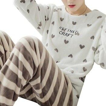 WENYUJH Winter Pajamas Women Korean Sleepwear Cute Cartoon Flannel Set Velvet Warm Pijama Round Neck Pyjama Homewear