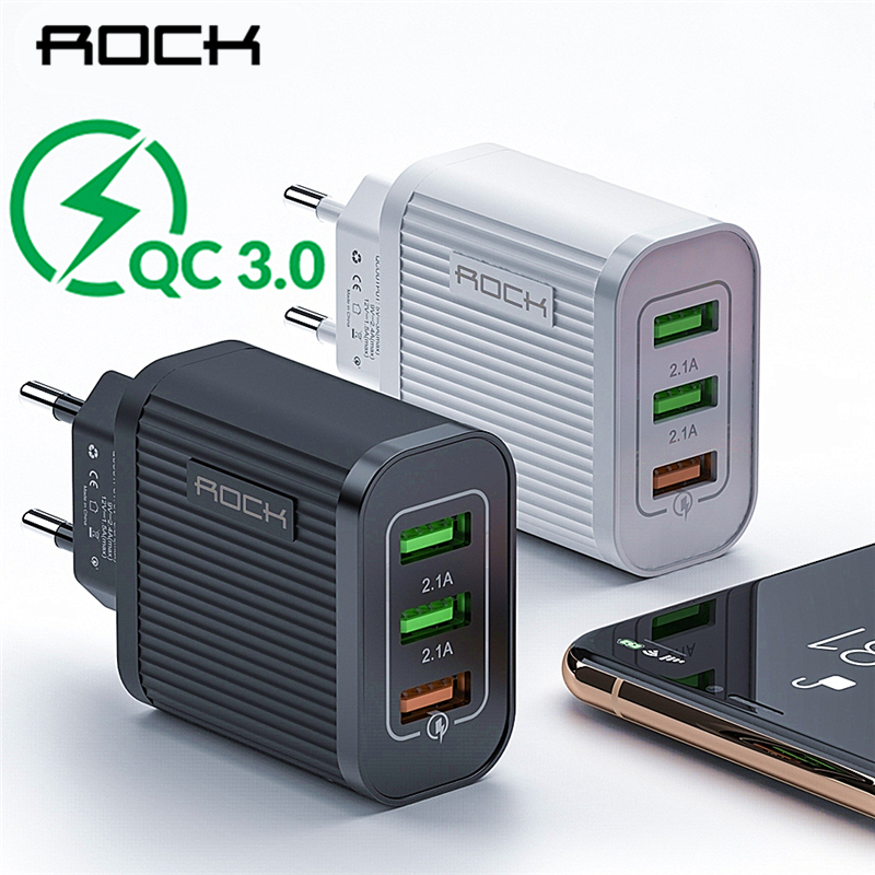 ROCK Quick Charging QC 3.0 3 USB Charger For iPhone 11 X Samsung Xiaomi Super Fast Travel Wall Mobile Phone Charger Adapter