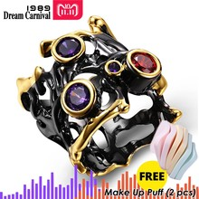 DreamCarnival 1989 Hip Hop Purple Red CZ Vintage Rings for Women Gothic Black Gold Hollow Parties Jewelry Alyans Mujeres anillo(China)