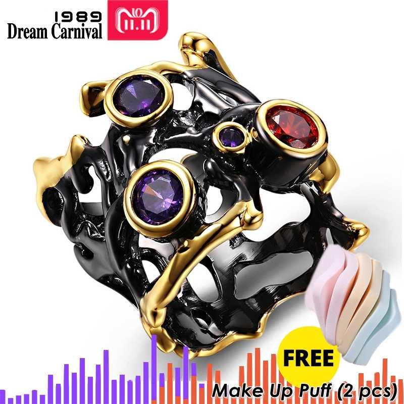 DreamCarnival 1989 Кольцо нео-готика с разноцветными камнями и покрытием черное золото R02