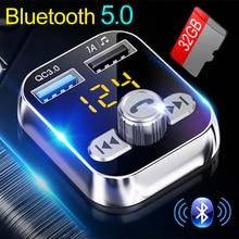 2021 araba Mp3 çalar Handsfree Bluetooth 5.0 FM verici TF Pendrive müzik çalma QC3.0 çift USB şarj gerilim algılama