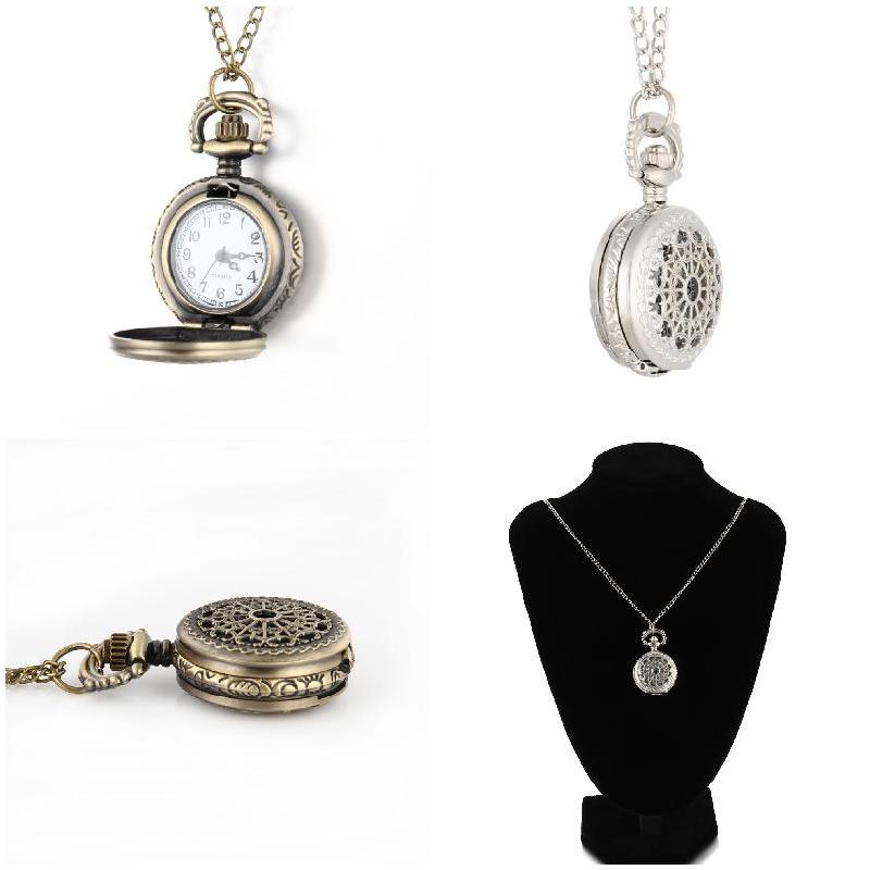 Men Pocket Watch Retro Bronze Tone Round Shape Spider Web Pattern Watches With Chain Necklace Hh88