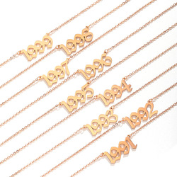 Stainless Steel Year Necklaces For Women Men Gold Male Female Pendant Necklace 1999 2000 2001 2002 Dropship