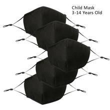 Masque noir lavable et réutilisable pour enfants, bavette buccale en coton à 4 couches, anti-poussière réglable, PM2.5, pour 3-14 ans, 5 pièces