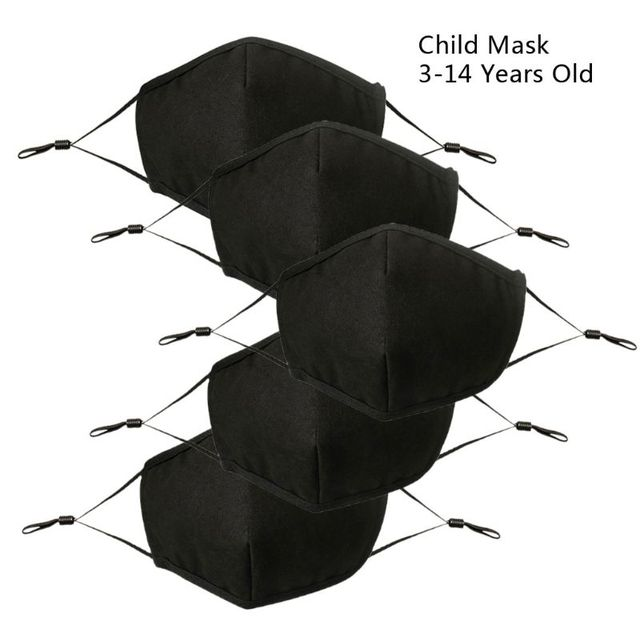 5Pcs Children Washable Reusable Black Mask Adjustable Dust Proof PM2.5 4 Layer Cotton Mouth Mask Face Masks for 3-14 years old
