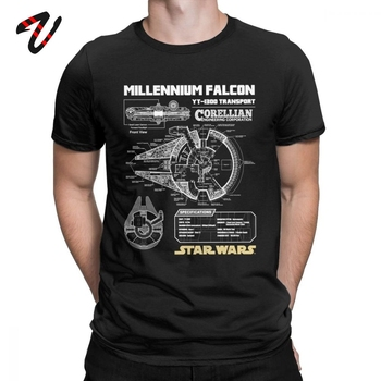 Star Wars T Shirt Men Millennium Falcon Tshirt Geek Schematics Tops Short Sleeve Novelty T-Shirt O Neck Cotton Tees Plus Size