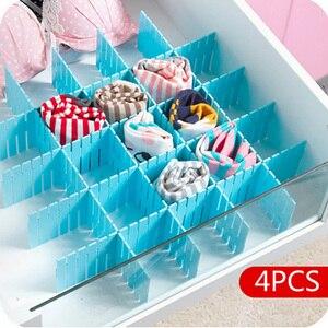 4Pcs DIY Plastic Drawer Grid Separator Divider Partition Storage Organizer Underwear Socks makeup Clapboard