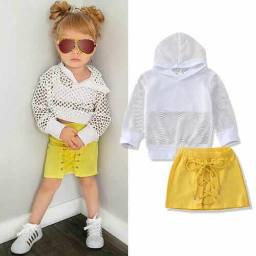 1-6Y เด็กวัยหัดเดินเด็กทารกเสื้อผ้าชุดเสื้อแขนยาว Hooded ตาข่ายกระโปรงมินิกระโปรงชุดเสื้อผ้า 2PCS