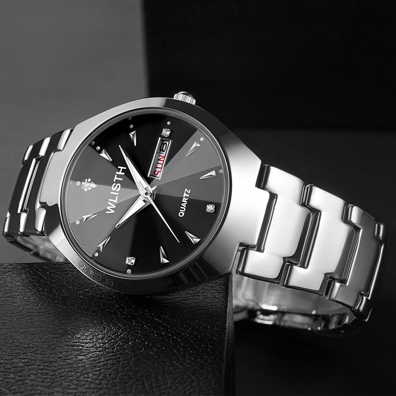 business casual fashion luminous week calendar display multiple colors couple business men women steel belt strap quartz watch in Lover 39 s Watches from Watches