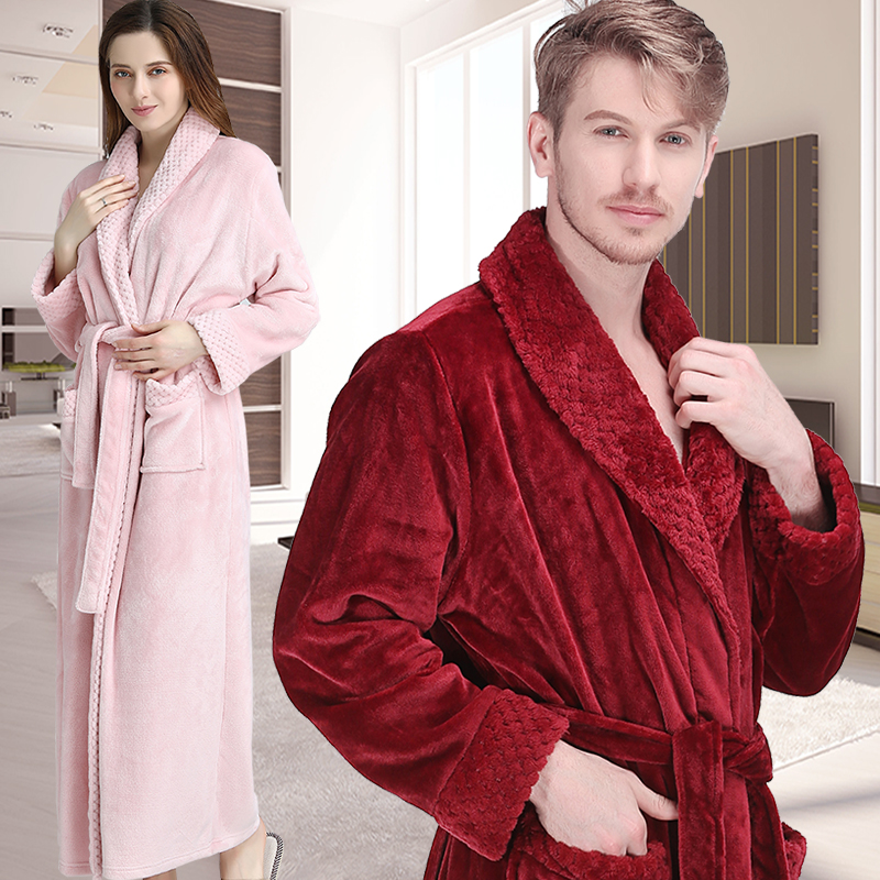 New Men Women Winter Extra Long Grid Fur Thick Flannel Warm Bathrobe Mens Luxury Thermal Bath Robe Soft Dressing Gown Male Robes