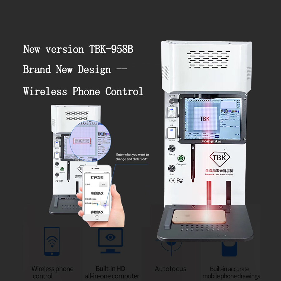 New Version TBK-958B Wireless Phone Control Laser Separate Machine For Iphone 7-11pro Back Cover Glass Removing Logo Marking