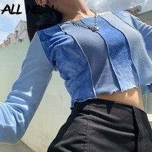 ALLNeon e-girl doux Patchwork cravate teinture côtelé T-shirts Y2K mode point o-cou à manches longues volants ourlet bleu récolte hauts Harajuku