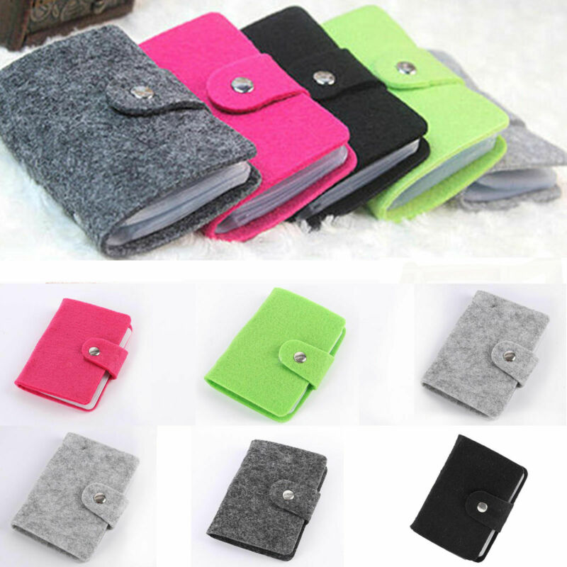 New Fashion 24 Bit Business Card Credit Card Holder Solid Felt Buckle Card Holders Organizer Manager For Women Men Free Shipping