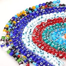 6mm/8mm/10mm Multicolor Round Flat Shape Evil Eye Beads Lampwork Glazed Glass Beads for Bracelet Necklace DIY Jewelry Making
