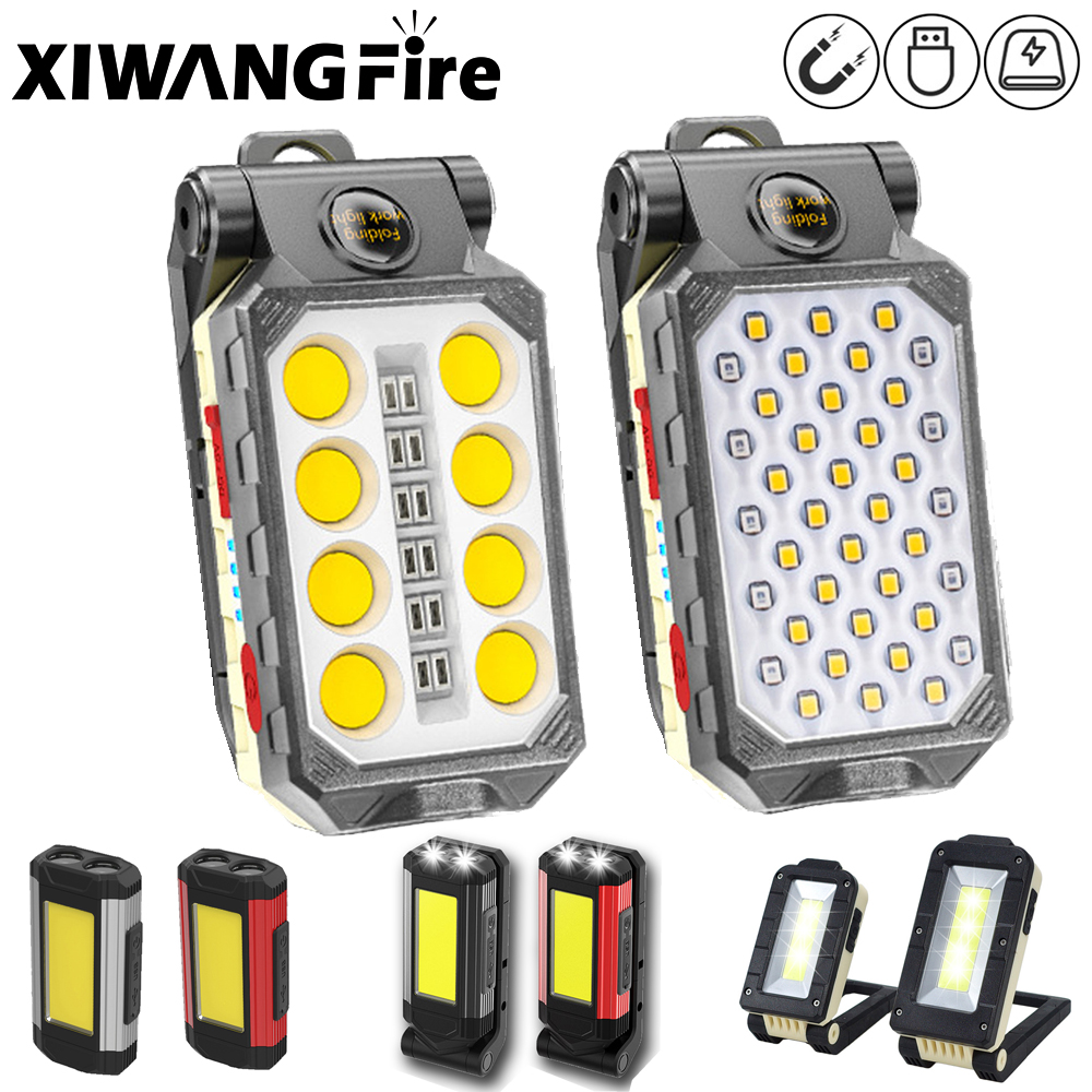 USB перезаряжасветильник Рабочий фонарь COB, портативный светодиодный фонарь, светильник емый водонепроницаемый фонарь для кемпинга с магнит...