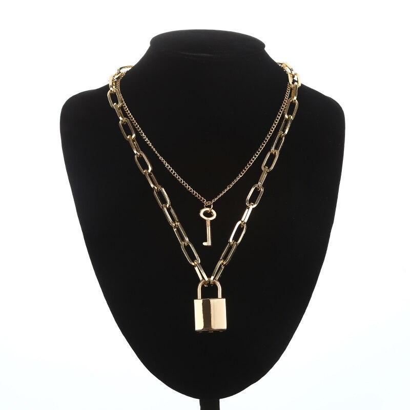 Двухслойная цепочка с замком, ожерелье в стиле панк 90 s, серебряная цепочка, цветной висячий замок, ожерелье с кулоном, женское модное готическое ювелирное изделие - Окраска металла: gold
