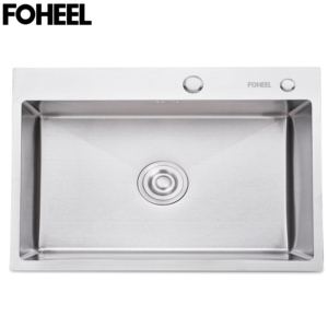 Image 1 - FOHEEL נירוסטה מטבח כיור יחיד חריץ צלחת אגן אחת מטבח כיור עם ניקוז סל ניקוז צינור