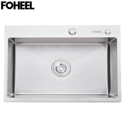 Fotalon évier de cuisine en acier inoxydable | Fente unique, lavabo à vaisselle, évier de cuisine simple avec panier de vidange et tuyau de vidange