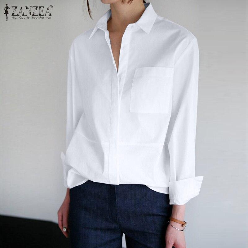 Zanzea 2020 women lapel neck ol 블라우스 봄 긴 소매 단추 셔츠 우아한 솔리드 블라우스 femininas mujer stylish top chemise