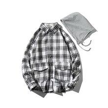 Men's Shirt Autumn New Brand Hip-Hop Men Hooded Shirt Streetwear Pocket Design Retro Lattice Long Sleeve Casual Shirts hooded panel pocket tartan shirt