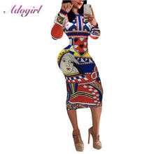 Женское винтажное платье миди с принтом в виде игральных карт