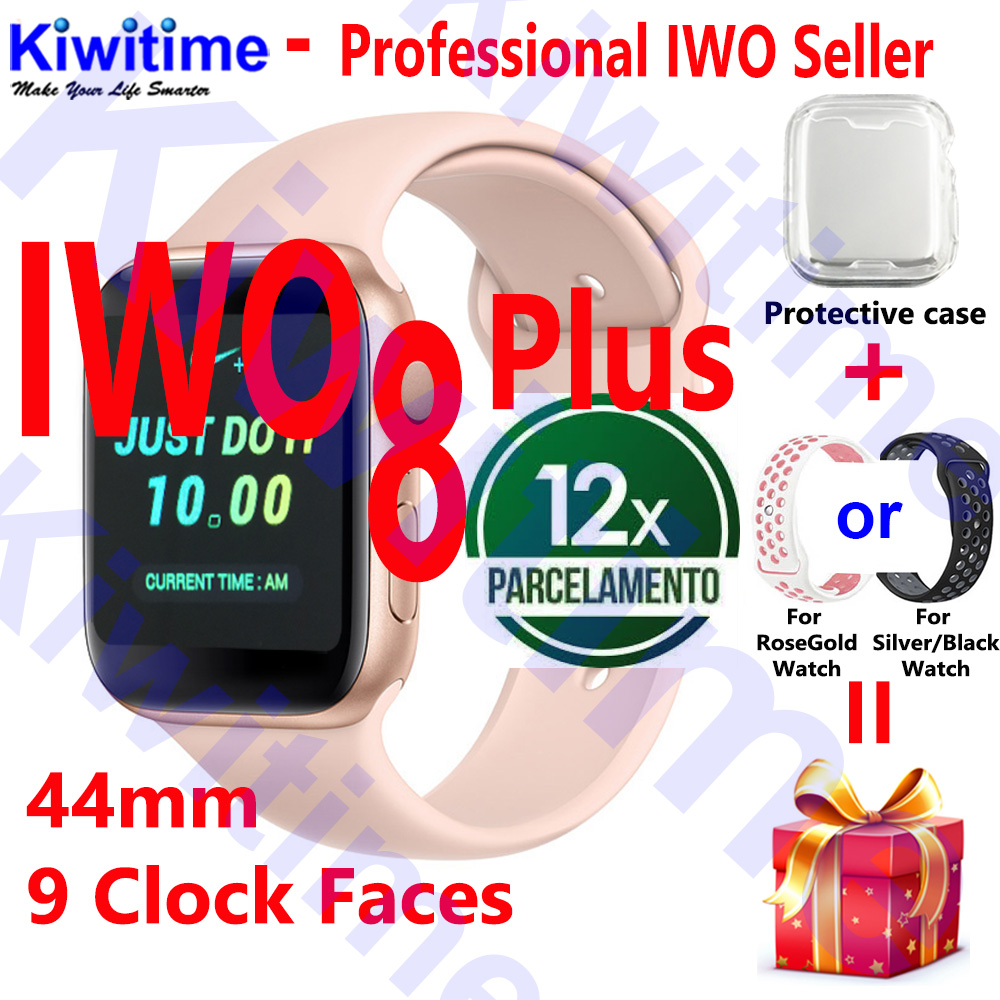 KIWITIME IWO 8 PLUS 44mm Watch 4 Heart Rate Smart Watch case for apple iPhone Android phone IWO 5 6 9 10 upgrade NOT apple watch
