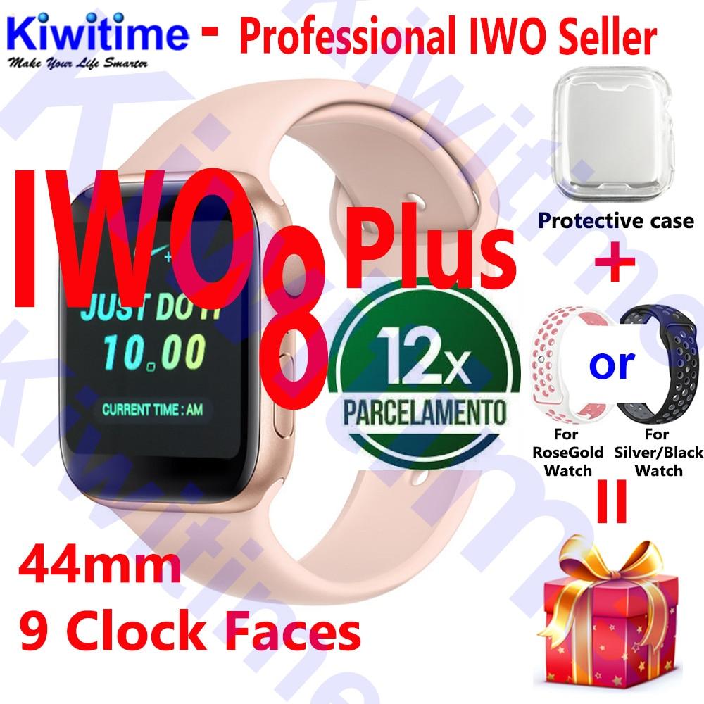 KIWITIME IWO 8 PLUS 44mm montre 4 boîtier de smartwatch de fréquence cardiaque pour apple iPhone téléphone Android IWO 5 6 9 10 mise à niveau pas montre apple