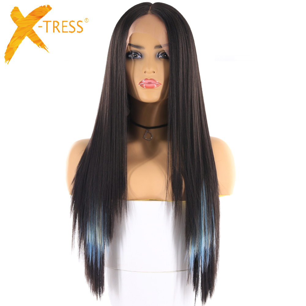 Yaki Straight Synthetic Hair Wigs With Natural Hairline X-TRESS Ombre Blue Color Long Layered Lace Front Wig For Black Women