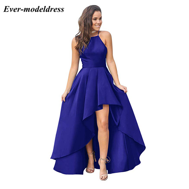 Royal Blue 2019 Halter Prom Dresses High Low Sleeveless Zipper Back Simple Evening Party Gowns Cheap Customized Robes Gala