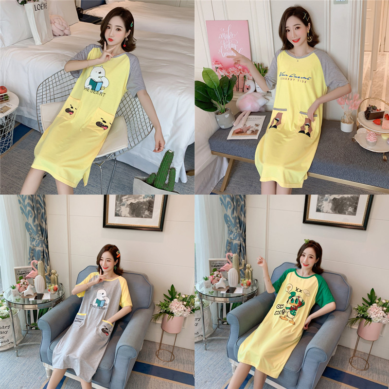 According To Feminine Nightgown Women's Summer GIRL'S Students Cute Cartoon Thin Knitted Cotton Midi-skirt Home Wear-Outer Wear