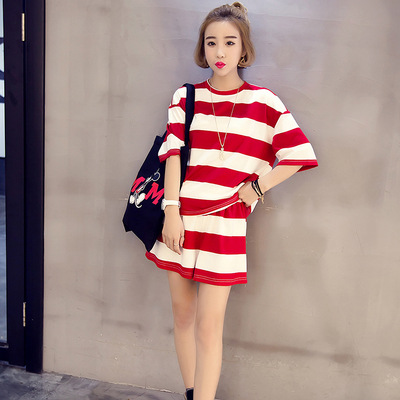 Summer Short-sleeved Women Pajamas Korean-style Stripes Girl'S Casual Loose-Fit Sports Students Homewear Set
