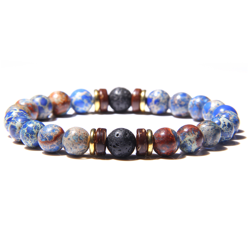 High Quality Natural Stone Imperial Jaspers Beads Vintage 8mm Round Lava Volcanic Stone Beaded Bracelet Jewelry for Women Men