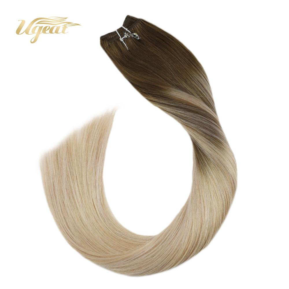 Ugeat Micro Bead Human Hair Extensions Weft Human Hair Extensions 14-24