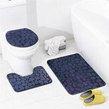 Hot Contrast Color Design 3D Printing Bath Mat Set 3pcs/Set Bathroom Rug For Toilet Indoor