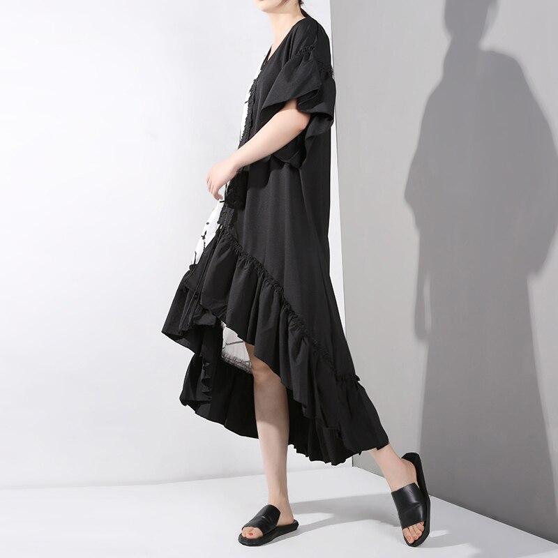 New Fashion Style Short Sleeve Hit Color Pattern Printed Ruffles Big Size Dress Fashion Nova Clothing
