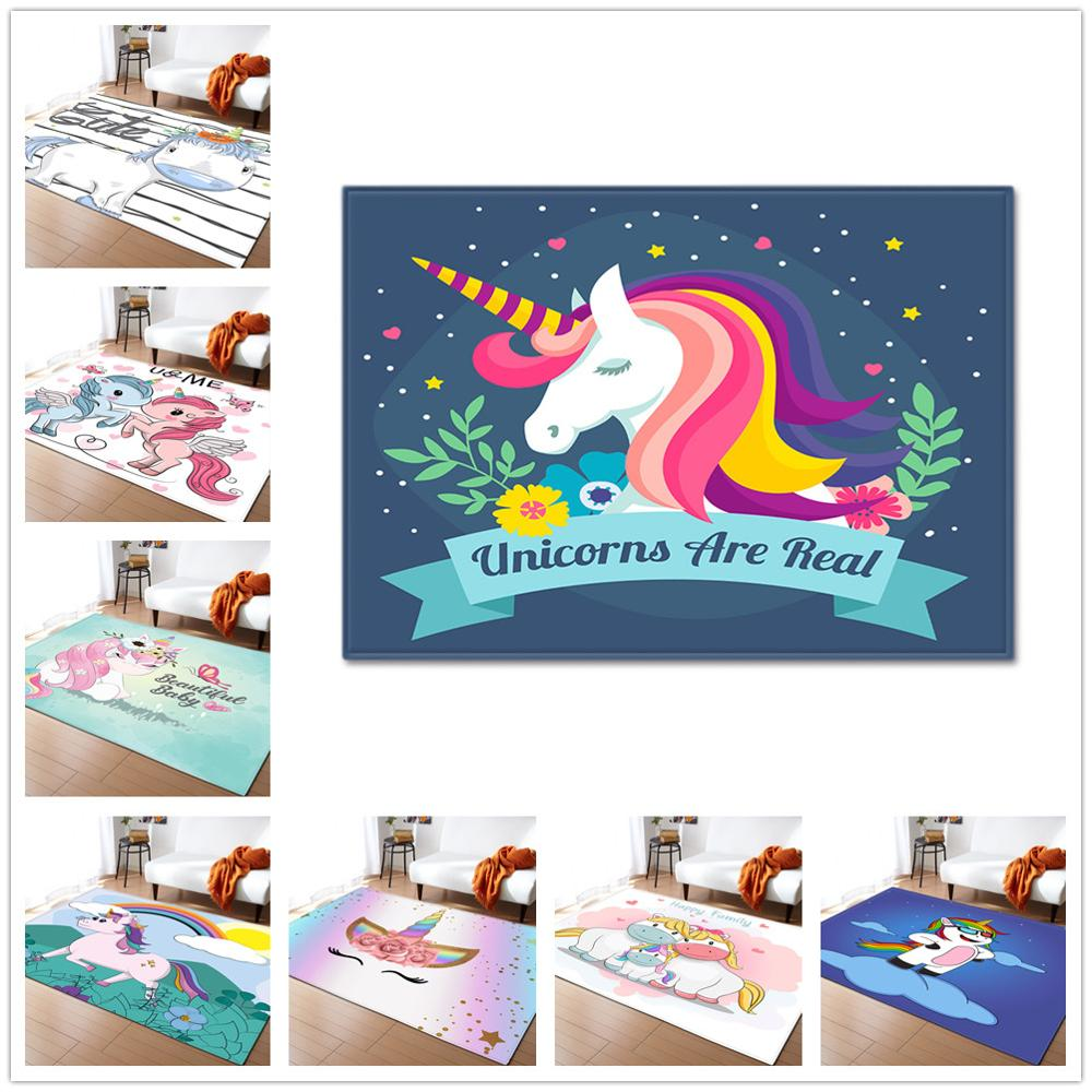 Cartoon Child Unicorn 3D Printed Carpets For Living Room Bedroom Area Rugs Soft Flannel Kids Room Crawl Antiskid Floor Mat/Rug