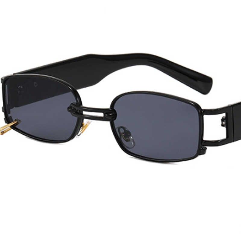 Di modo Rettangolare Occhiali Da Sole Donne/uomini Del Progettista di Marca Delle Donne Occhiali Da Sole Da Uomo In Metallo Piccola Cornice Retro Punk Oculos De Sol Feminino