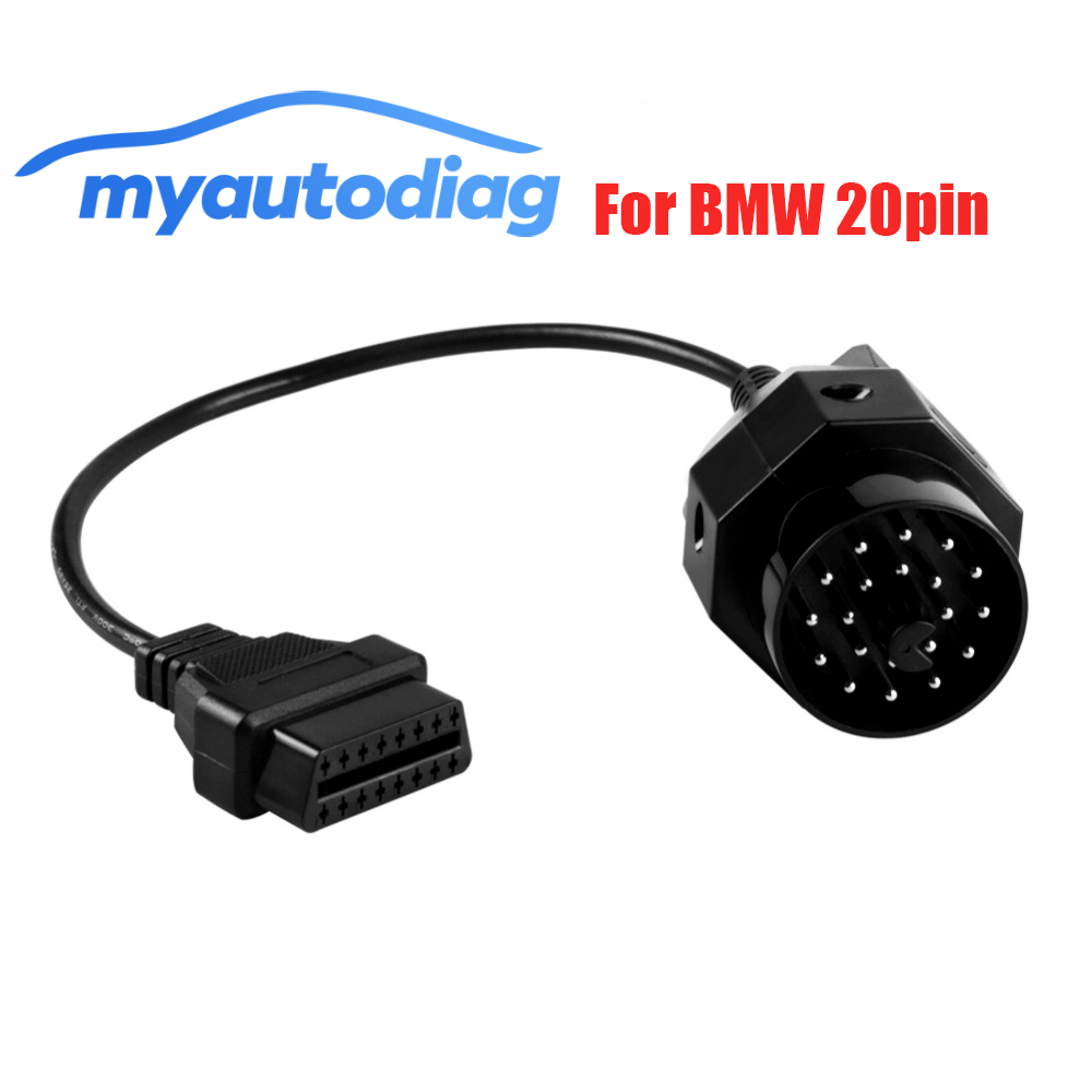 Poromotion OBD ODB2 For <font><b>BMW</b></font> 20pin OBD II Adapter For <font><b>BMW</b></font> <font><b>20</b></font> <font><b>Pin</b></font> To <font><b>OBD2</b></font> 16 <font><b>PIN</b></font> Female Connector E36 E39 X5 Z3 series For <font><b>BMW</b></font> image