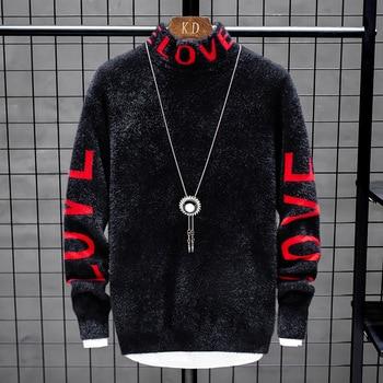 Suéter de cachemir para hombre, suéteres gruesos y cálidos de Navidad, jersey de cuello alto, moda de punto, novedad de invierno de 2020 1