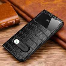 Echt Leer Case Voor Iphone 11Pro Max Case Cover Magnetische Coque Voor Iphone 11 Pro Flip Case Fundas Window View behuizing