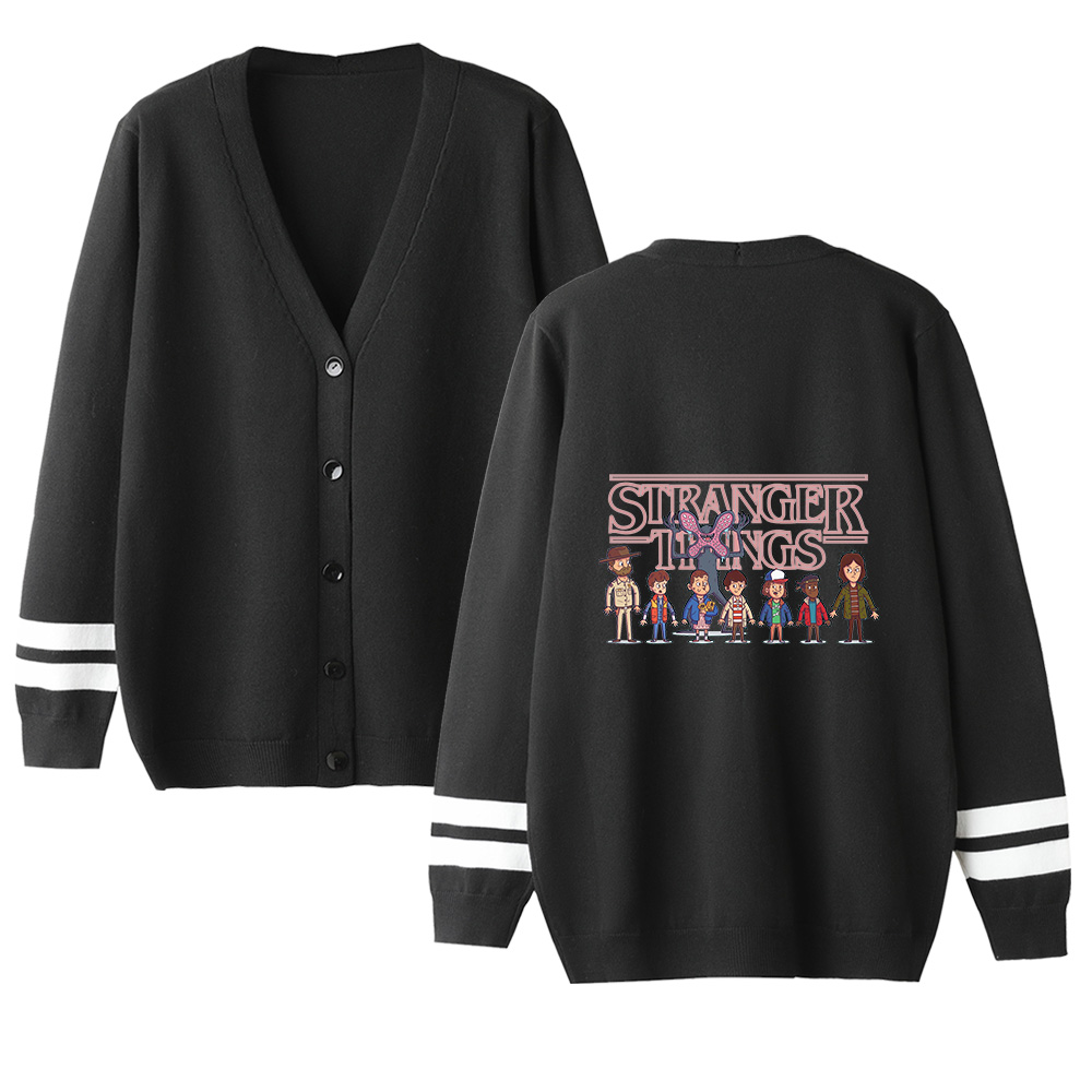 Stranger Things Sweater Men Women Autumn Sweater Streetwear Fashion Sweater V-neck Long Sleeve Knitting Female Cardigan Sweater
