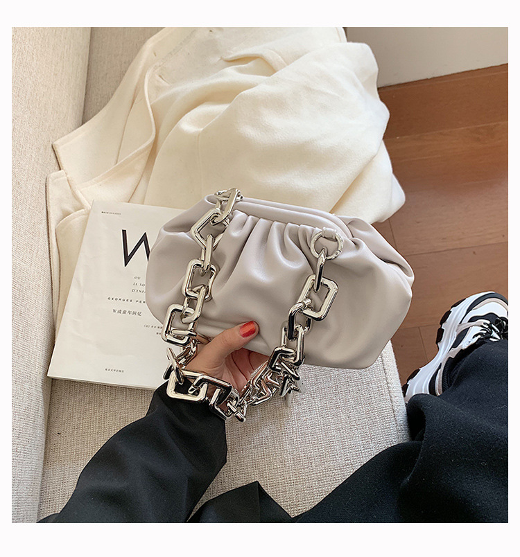 Hb017517623514718aa15a9cce3611b04W - Women's Personality Thick Chain Soft Leather Cloud Bag Casual Wild Shoulder Bag Party Evening Clutch Bag Fashion Dumplings Bag