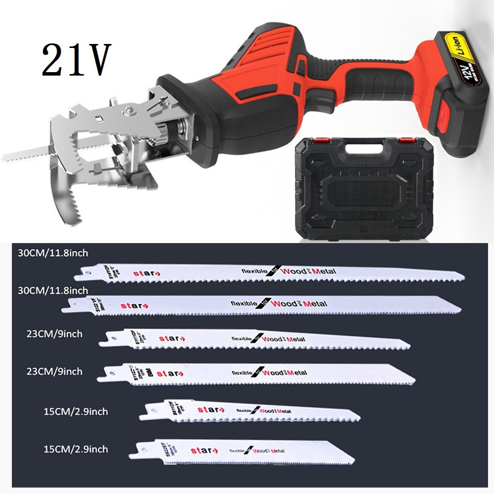 Electric Saw Reciprocating Saw 12V/16.8V/21V For Wood Metal Plasitic Pipe 250W Cutting Power Saw Tool With 6 Wood Cutting Blades